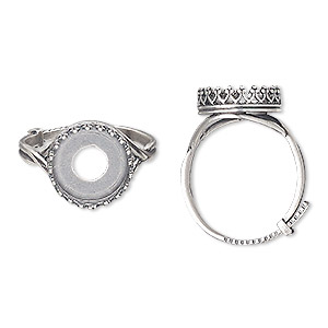ring, jbb findings, antique silver-plated brass, 13.5mm wide with decorative trim and 12mm round bezel setting, adjustable from size 8-11. sold individually.