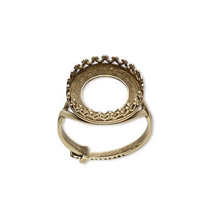 ring, jbb findings, antiqued brass, 16mm round with 14mm round bezel setting, adjustable from size 6-8. sold individually.