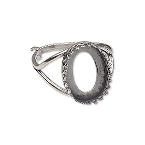 ring, jbb findings, sterling silver, 19mm wide with decorative trim and 18x13mm oval bezel setting, adjustable from size 8-11. sold individually.