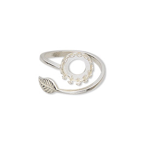 ring, jbb findings, sterling silver, 2mm wide band with leaf and 10mm round with ss39 rivoli bezel setting, size 8. sold individually.