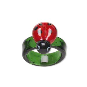 ring, lampworked glass, multicolored, 18x12mm ladybug, size 7-1/2 to 8. sold individually.