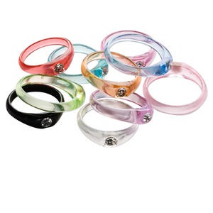 ring mix, acrylic and glass rhinestone, clear and multicolored, sizes 6-10. sold per pkg of 10.