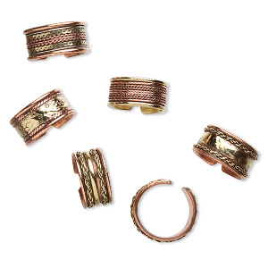 ring mix, copper and brass, 9-11mm wide, adjustable. sold per pkg of 6.