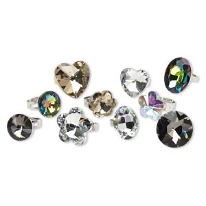 ring mix, imitation rhodium-finished steel / glass / acrylic, multicolored, mixed size and shape, adjustable. sold per pkg of 10.