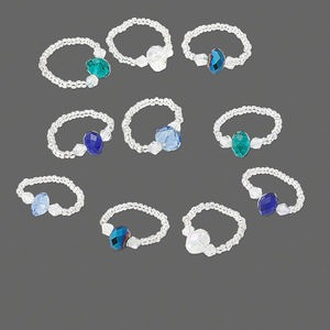 ring mix, stretch, glass, mixed color, 8x5mm rondelle, size 7-9. sold per pkg of 10.