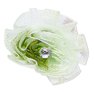 ring, organza / acrylic rhinestone / silver-finished steel, white / green / clear, 30x30mm-35x35mm flower, adjustable. sold individually.