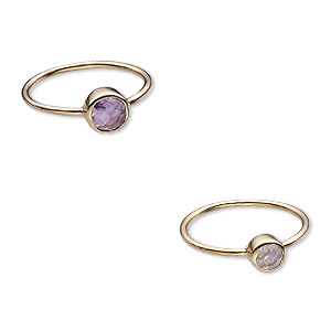 ring, rainbow moonstone / amethyst (natural) / gold-finished sterling silver, 6mm and 7mm wide, size 8. sold per 2-piece set.