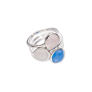 ring, rainbow moonstone / blue chalcedony (natural / dyed) / gold-finished sterling silver, 24mm wide, size 10. sold individually.