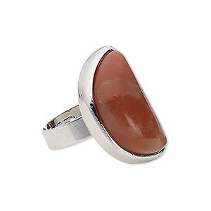 ring, red jasper (natural) with silver-plated steel and pewter (zinc-based alloy), 27x15mm-27x16mm half round, adjustable from size 5-9. sold individually.
