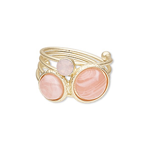 ring, resin / glass rhinestone / gold-finished steel / pewter (zinc-based alloy), pink, 30mm wide with round, size 9. sold individually.