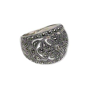 ring, signity marcasite (natural) and antiqued sterling silver, 5-17mm wide tapered band with cutout flower design, size 8. sold individually.