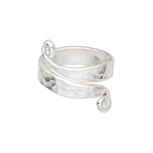 ring, silver-plated copper, 13mm wide hammered band, size 7-1/2. sold individually.