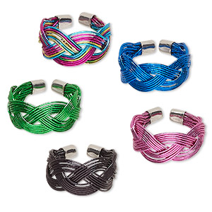 ring, steel, assorted colors, braided design, 9mm wide, adjustable. sold per pkg of 5.