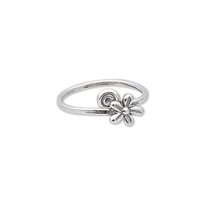 ring, sterling silver, 10mm wide with flower and swirl design, size 8. sold individually.