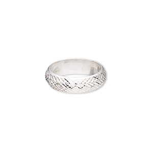 ring, sterling silver, 6mm wide with diamond-cut cross-hatched design, size 7. sold individually.