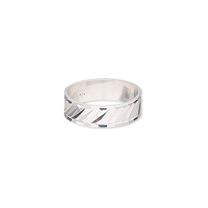 ring, sterling silver, 6mm wide with diamond-cut lines, size 7. sold individually.
