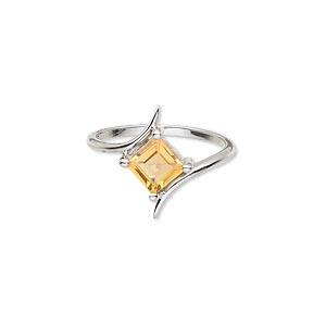 ring, sterling silver and citrine (heated), 6x6mm faceted square, size 7. sold individually.