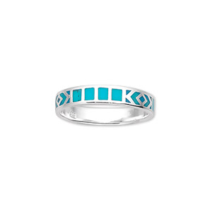 ring, sterling silver and enamel, turquoise blue, size 8. sold individually.