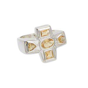 ring, sterling silver and faceted citrine (heated), 22x18mm cross, size 7. sold individually.