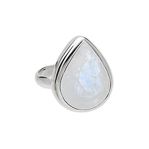 ring, sterling silver and rainbow moonstone (natural), 20x14mm teardrop cabochon, size 8. sold individually.