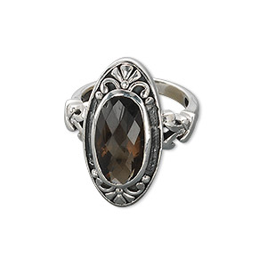 ring, sterling silver and smoky quartz (heated / irradiated), 25x13mm marquise, 16x10mm faceted oval, size 7. sold individually.
