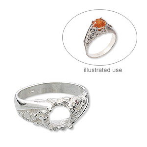 ring, sterling silver, nugget band with 8mm 4-prong round setting, size 10. sold individually.