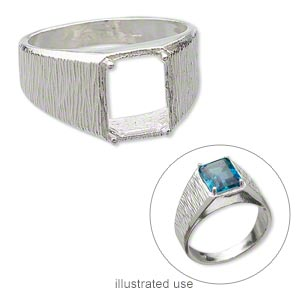 ring, sterling silver, textured band with 10x8mm 4-prong emerald-cut setting, size 10. sold individually.