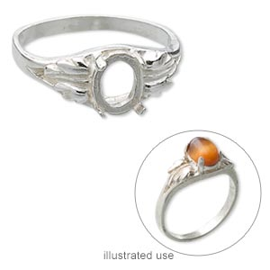 ring, sterling silver, two-leaf band with 8x6mm 4-prong oval setting, size 8. sold individually.
