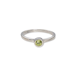 ring, sterling silver with peridot (natural), 4mm faceted round, size 7. sold individually.