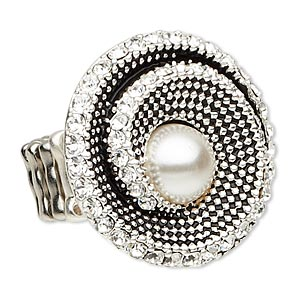 ring, stretch, acrylic pearl / glass rhinestone / antique silver-plated pewter (zinc-based alloy), white and clear, 35mm beaded spiral, size 8 to 8-1/2. sold individually.