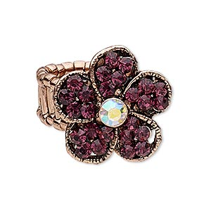 ring, stretch, glass rhinestone and copper-plated pewter (zinc-based alloy), clear ab and purple, 25x25mm flower. sold individually.