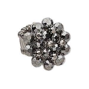 ring, stretch, glass rhinestone and gunmetal-plated pewter (zinc-based alloy), metallic black, 26x24mm flower. sold individually.