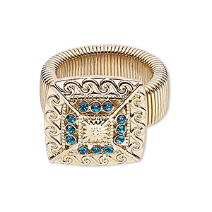 ring, stretch, glass rhinestone with gold-finished steel and pewter (zinc-based alloy), turquoise blue, 22x22mm square, size 7-9. sold individually.