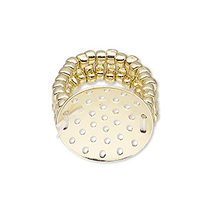 ring, stretch, gold-finished brass and pewter (zinc-based alloy), 8mm wide with 20mm perforated disk, size 6-1/2 to 8. sold individually.