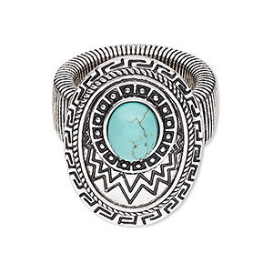 ring, stretch, magnesite (dyed / stabilized) with antique silver-plated steel and pewter (zinc-based alloy), turquoise blue, 32x22mm oval, size 7-10. sold individually.