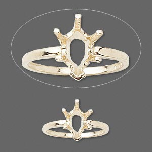 ring, sure-set™, 14kt gold, 10x7mm 6-prong pear basket setting, size 6. sold individually.
