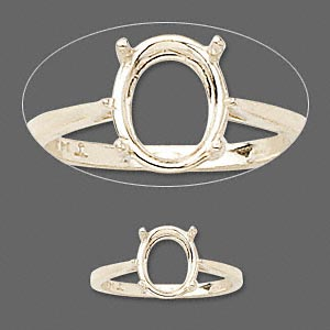ring, sure-set™, 14kt gold, 10x8mm 4-prong oval basket setting, size 7. sold individually.