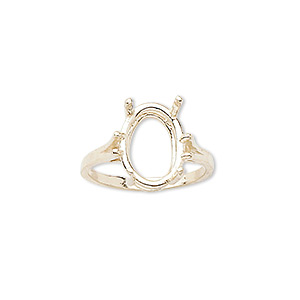 ring, sure-set™, 14kt gold, 14x10mm 4-prong oval basket setting, size 7. sold individually.
