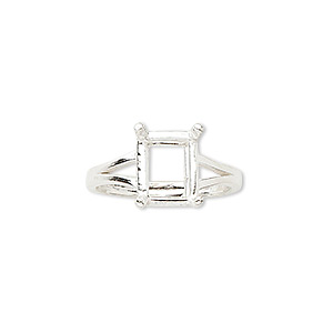 ring, sure-set™, sterling silver, 10x8mm 4-prong emerald-cut basket setting, size 7. sold individually.