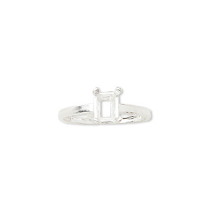ring, sure-set™, sterling silver, 7x5mm 4-prong emerald-cut basket setting, size 6. sold individually.