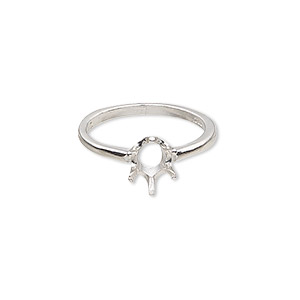 ring, sure-set™, sterling silver, 8x6mm 6-prong oval setting, size 7. sold individually.