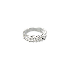 ring, sure-set™, sterling silver, braided band with (3) 3.5mm 4-prong round settings, size 6. sold individually.