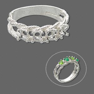 ring, sure-set™, sterling silver, braided band with (4) 3.5mm 4-prong round settings, size 8. sold individually.