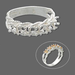ring, sure-set™, sterling silver, braided band with (6) 3.5mm 4-prong round settings, size 8. sold individually.