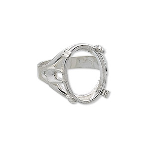 ring, sure-set™, sterling silver, branch band with 18x13mm 4-prong oval setting, size 7. sold individually.