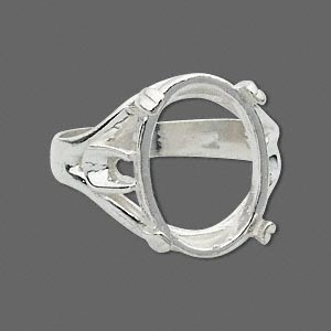 ring, sure-set™, sterling silver, branch-style band with 18x13mm oval cabochon setting, 4 prong, size 10. sold individually.
