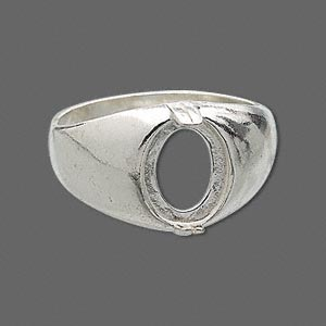ring, sure-set™, sterling silver, dome band with 10x8mm 2-prong oval setting, size 11. sold individually.