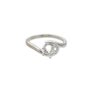 ring, sure-set™, sterling silver, swirl band with 6mm 6-prong round setting, size 8. sold individually.
