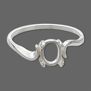 ring, sure-set™, sterling silver, swirl band with 7x5mm 4-prong oval setting, size 6. sold individually.