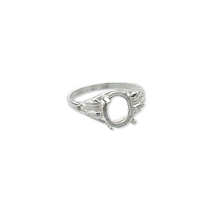 ring, sure-set™, sterling silver, two-leaf band with 10x8mm 4-prong oval setting, size 7. sold individually.